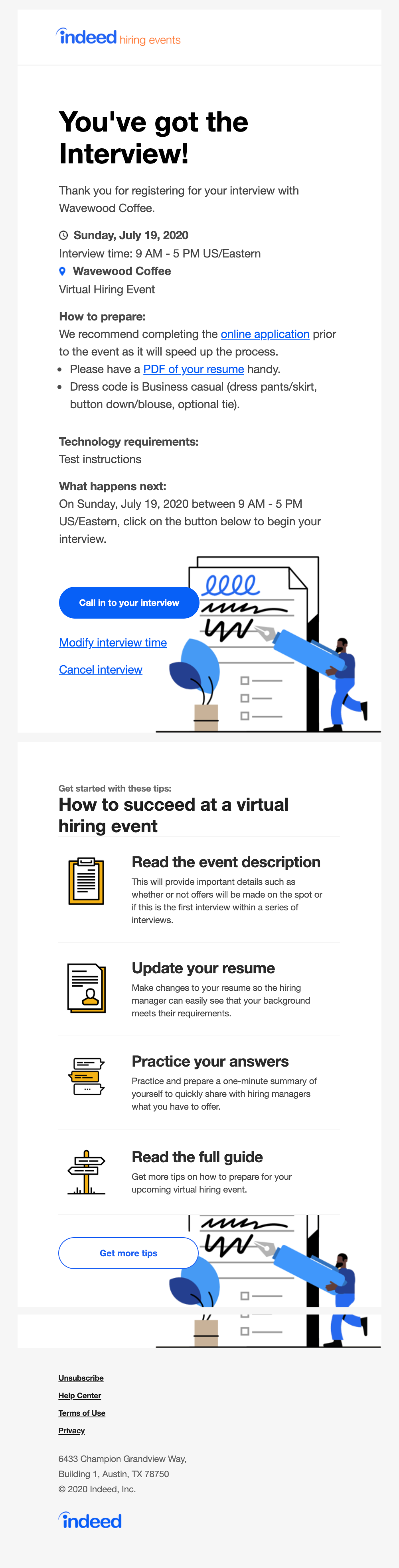 hiring events rsvp confirmation email