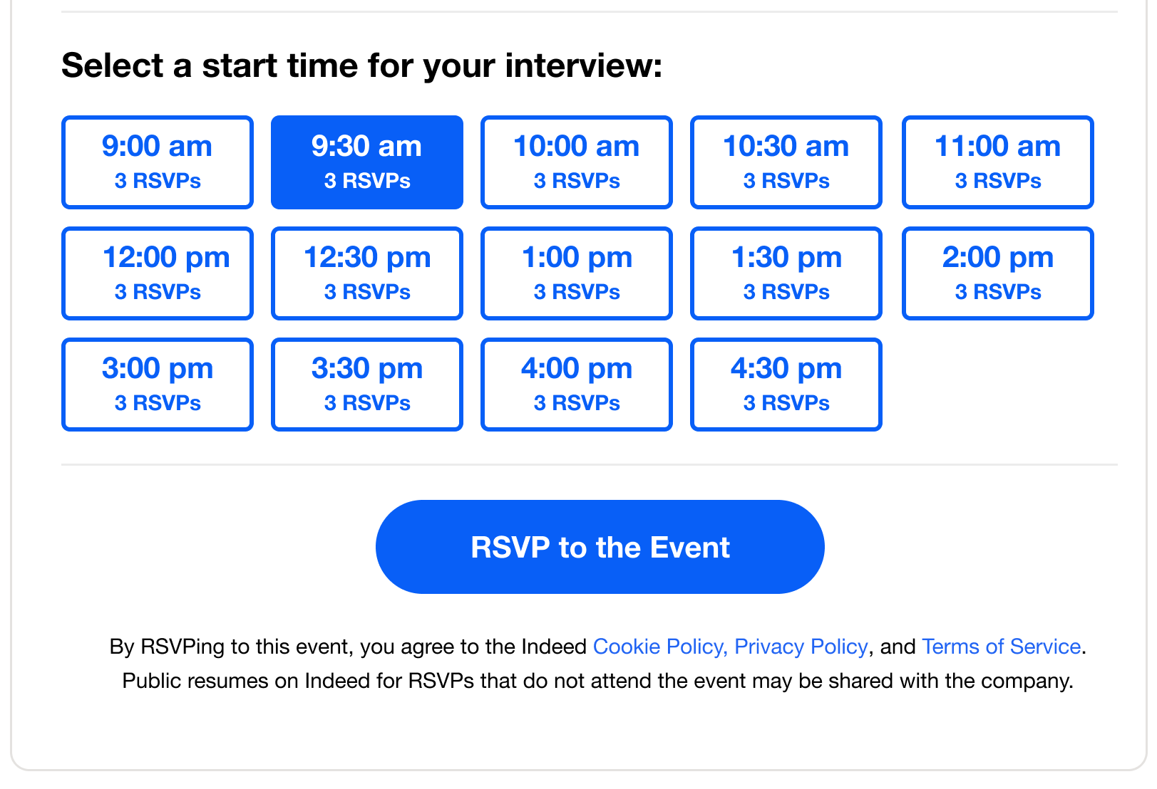 hiring events time slots feature